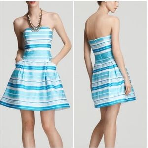 Lilly Pulitzer Silk Blue Blossom Striped Dress